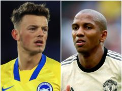 Ben White and Ashley Young (Mike Egerton/Nigel French/PA)