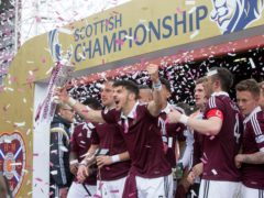 There will be no repeat of these scenes when Hearts collect the Championship trophy (Jeff Holmes/PA)