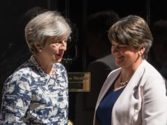 Then prime minister Theresa May greets DUP leader Arlene Foster outside 10 Downing Street (PA)