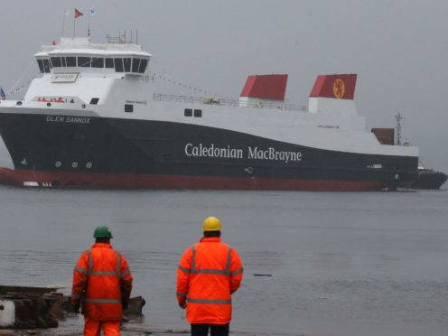 Workers view the ferry MV Glen Sannox (Andrew Milligan/PA)