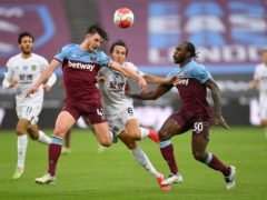 Declan Rice, left, and Michail Antonio are injured (Justin Setterfield/NMC Pool/PA)