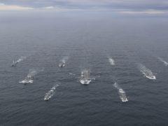 HMS Queen Elizabeth, centre, at sea (LPhot Belinda Alker/MoD/PA)