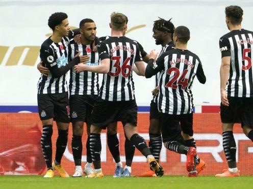 Newcastle head coach Steve Bruce could field Callum Wilson (second left), Allan Saint-Maximin (fourth left) and Miguel Almiron at Burnley on Sunday (Owen Humphreys/PA)