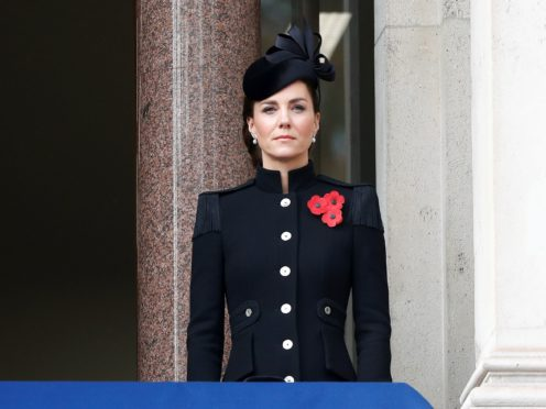 The Duchess of Cambridge stands on a balcony in Whitehall during the Remembrance Sunday service (Peter Nicholls/PA)