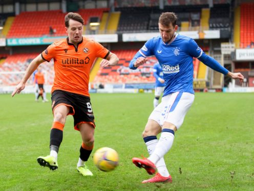 Dundee United's Marc McNulty (left) was on target (Willie Vass/PA)