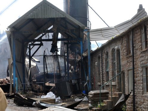 The scene of the explosion and fire at Wood Flour Mills, Bosley (Chris Neil/Sunday Telegraph/PA)