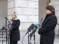 Northern Ireland deputy First Minister Michelle O'Neill (left) and First Minister Arlene Foster during a press conference at Stormont on the pathway to recovery (Liam McBurney/PA)