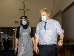 The Prime Minister during a visit to a vaccination centre at Jesus House For All The Nations (Geoff Pugh/Daily Telegraph/PA)