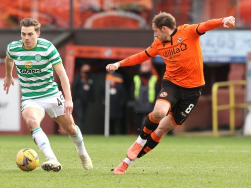 Peter Pawlett (right) has signed a new deal with Dundee United (Jeff Holmes/PA)
