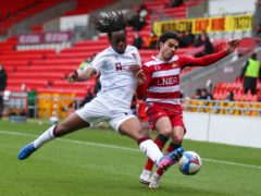 Peter Kioso, left, came off at half-time feeling ill during Northampton's 3-0 loss at Hull (Isaac Parkin/PA)
