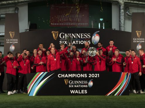 Wales celebrate after winning the 2021 Six Nations (Handout)
