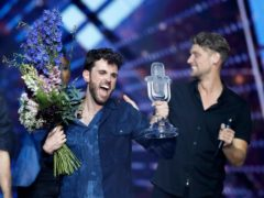 Duncan Laurence of the Netherlands celebrates after winning the 2019 Eurovision Song Contest grand final in Tel Aviv, Israel (Sebastian Scheiner/AP)