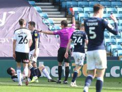Richard Wood was sent off at Millwall (Jonathan Brady/PA)