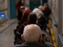 Elderly people wait for the Covid-19 vaccine at the Don Orione rest home in Rome (AP)