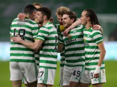 James Forrest, second right, provided the opening goal for Celtic (Jane Barlow/PA)