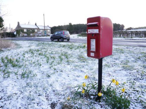 Snow fell overnight in Northumberland (Owen Humphreys/PA)