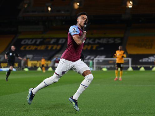 West Ham's Jesse Lingard celebrates the opener at Wolves (Laurence Griffiths/PA)