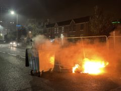 A fire in a street in the mainly nationalist New Lodge area of north Belfast (Liam McBurney/PA)