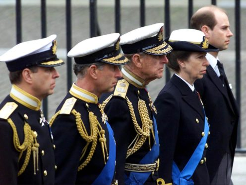 The Duke of York, Prince of Wales, Duke of Edinburgh, Princess Royal, and Earl of Wessex at the Queen Mother's funeral (PA)