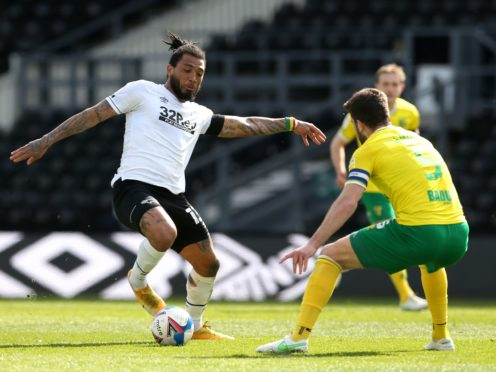 Derby's Colin Kazim-Richards (left) was in action against Norwich (Barrington Coombs/PA)