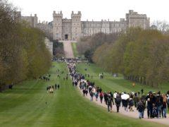 People on the Long Walk outside Windsor Castle, Berkshire (Gareth Fuller/PA)