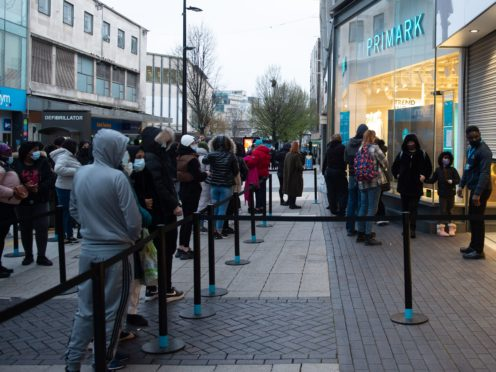 Early morning shoppers at Primark in Birmingham, as lockdown restrictions are eased in England (Jacob King/PA)
