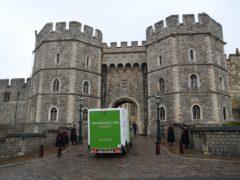 A Waitrose delivery van arrives at the entrance to Windsor Castle (Steve Parsons/PA)