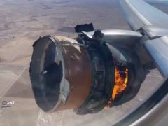 The engine of United Airlines Flight 328 on fire (Chad Schnell via AP)