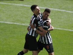 Newcastle striker Joelinton (right) celebrates his goal against West Ham (Owen Humphreys/PA)