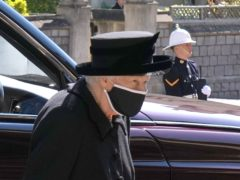 The Queen arrives for the funeral of the Duke of Edinburgh at St George's Chapel, Windsor Castle (Jonathan Brady/PA)