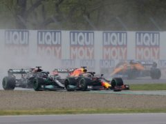 Max Verstappen edged out Lewis Hamilton to take the win (Luca Bruno/AP)