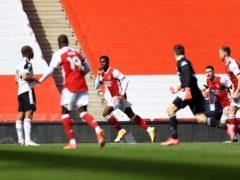 Eddie Nketiah (centre) netted a late equaliser for Arsenal (Julian Finney/PA)