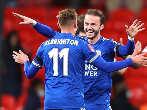 Leicester's Marc Albrighton (left) and James Maddison celebrate reaching the FA Cup final (Richard Heathcote/PA)