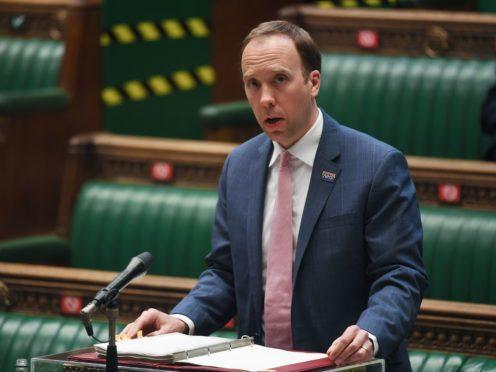 Health Secretary Matt Hancock speaks in the Commons (UK Parliament/Jessica Taylor/PA)
