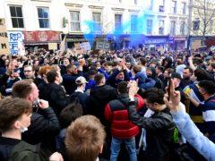 Chelsea fans protesting outside Stamford Bridge (Ian West/PA)
