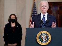 President Joe Biden, accompanied by Vice President Kamala Harris, addresses the nation from the White House after the George Floyd verdict (Evan Vucci/AP)