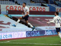 Manchester City's Rodri celebrates his goal at Aston Villa (Carl Recine/PA)
