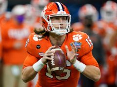 The Jacksonville Jaguars have picked quarterback Trevor Lawrence with the first pick of this season's NFL Draft (John Bazemore/AP)