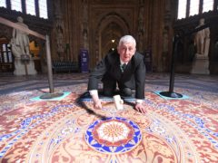Speaker of the House of Commons, Sir Lindsay Hoyle, with the restored tiled floors in Parliament (Jessica Taylor/UK Parliament/PA)