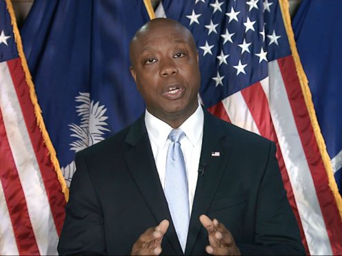 Senator Tim Scott delivers the Republican response to President Joe Biden's speech to a joint session of Congress (AP)