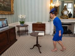 Ambassador of Slovenia Simona Leskovar is received by the Queen by video-link (Dominic Lipinski/PA)