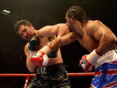 David Haye, right, stopped John Ruiz in the ninth round to retain his WBA title (Dave Thompson/PA)