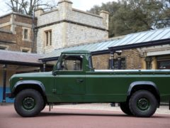 The Duke of Edinburgh's funeral Land Rover (Steve Parsons/PA)The Jaguar Land Rover vehicle that will transport the Duke of Edinburgh's coffin, at Windsor Castle, Berkshire. The Duke's funeral will be held at Windsor Castle on Saturday following his death at the age of 99 on April 10. Issue date: Thursday April 15, 2021. PA Photo. See PA story DEATH Philip. Photo credit should read: Steve Parsons/PA Wire