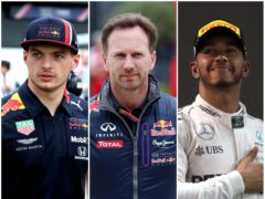 Christian Horner, centre, believes Max Verstappen's rivalry with Lewis Hamilton could boil over (Martin Rickett/David Davies/PA)