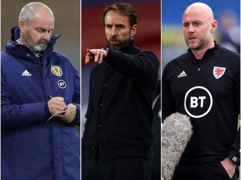 Steve Clarke, Gareth Southgate and Robert Page, l-r, will be pondering their European Championship selections (Jane Barlow/Adrian Dennis/Nick Potts/PA)