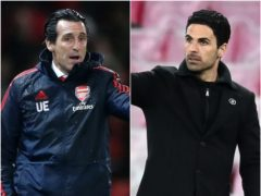 Former Arsenal head coach Unai Emery (left) comes up against his successor Mikel Arteta on Thursday night (Nick Potts/ Michael Regan/PA)
