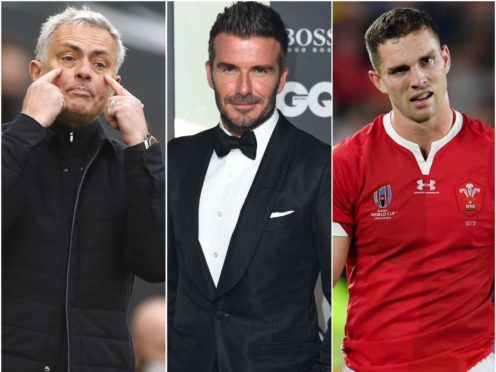 Jose Mourinho, David Beckham and George North (Matthew Childs/Matt Crossick/Ashley Western/PA)
