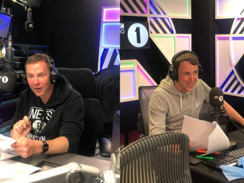 Scott Mills and Chris Stark record the Naked Attraction audio description (Studio Lambert/Channel 4/PA)