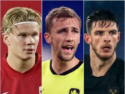 Erling Haaland, Tomas Soucek and Declan Rice are in the latest football rumours ( Fredrikh Hagen/Nick Potts/Steven Paston/PA)