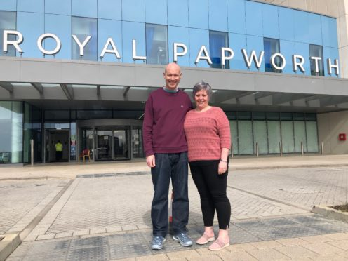 Simon Panton, who had heart transplant surgery at Royal Papworth Hospital in Cambridge, with his wife Clare. (Royal Papworth Hospital/ PA)